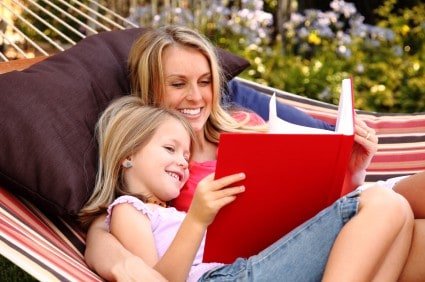 Mom and daughter enjoying reading activities