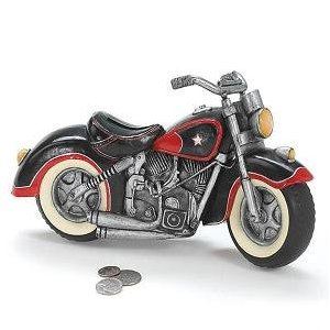 Decorative All American Motorcycle Piggy Bank For Motorcycle Enthusiast Great Gift Item!