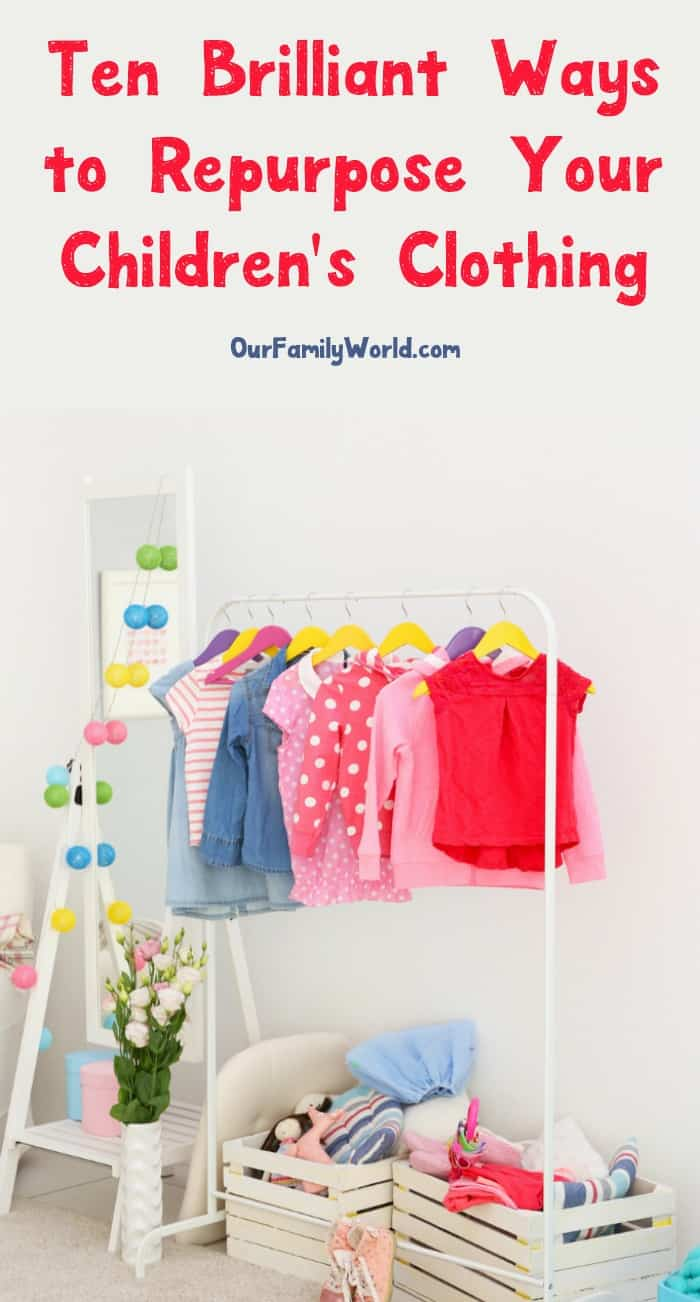 If you have a basket full of children's clothing that is too small, too worn, or even outdated, take a peek at these ten ways to repurpose children's clothing. You might just be surprised at how many fun and frugal options you have to give that clothing new life!