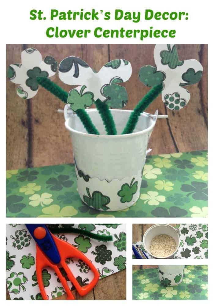 Saint Patrick's Day decor: make this cute clover centerpiece. An easy craft for kids