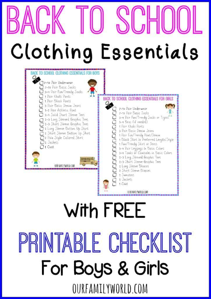 Back To School Clothing Essentials with Free Printable Checklist for Boys & Girls