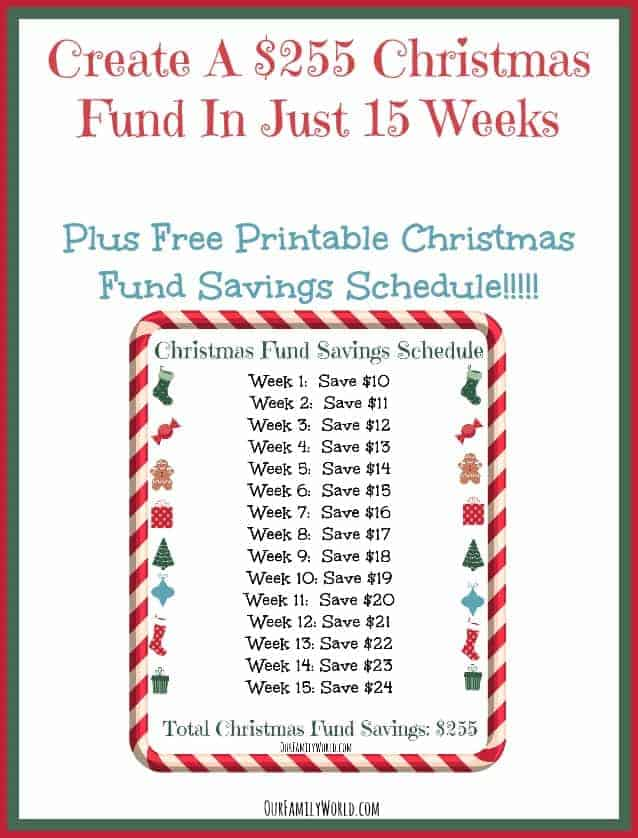 Create A $255 Christmas Fund In Just 15 Weeks With FREE Printable Savings Schedule!