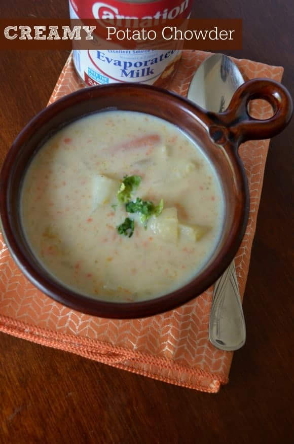 the following potato soup recipe is THE best potato chowder recipe I have ever tasted (and it's not because I made it). It has the perfect ingredients, right amount of potatoes and most of all, it's deliciously creamy. Trust me, YOU WANT to know my secret