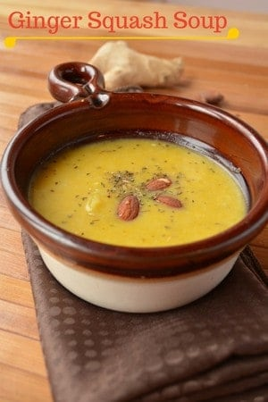 Nothing warms you up quite like this delicious ginger squash soup recipe garnished with energy-packed almonds! Fantastic family recipe for winter nights!