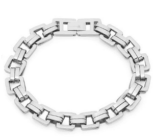 Sterling Silver Square Link Mens Bracelet:Valentine's Day Gifts For Him