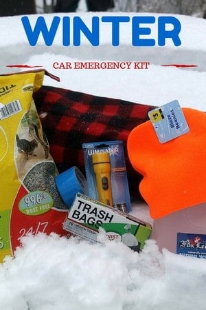 Create a winter car emergency kit with inexpensive supplies from Dollar General and items you already have in your home.