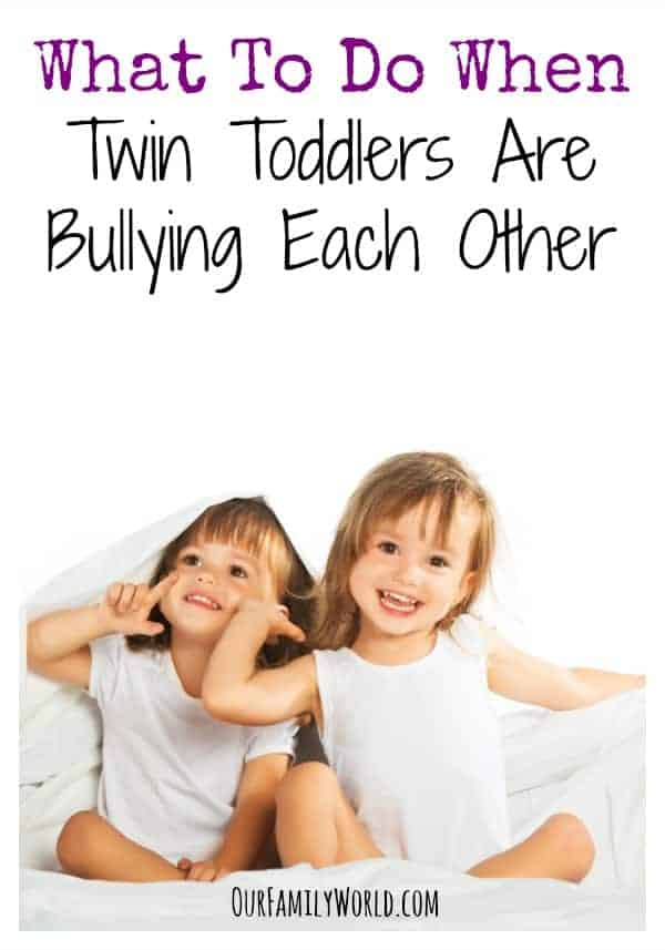 Are your twin toddlers bullying each other? Learn a few easy tactics to turn your babies back into best friends instead of arch nemeses and restore harmony!