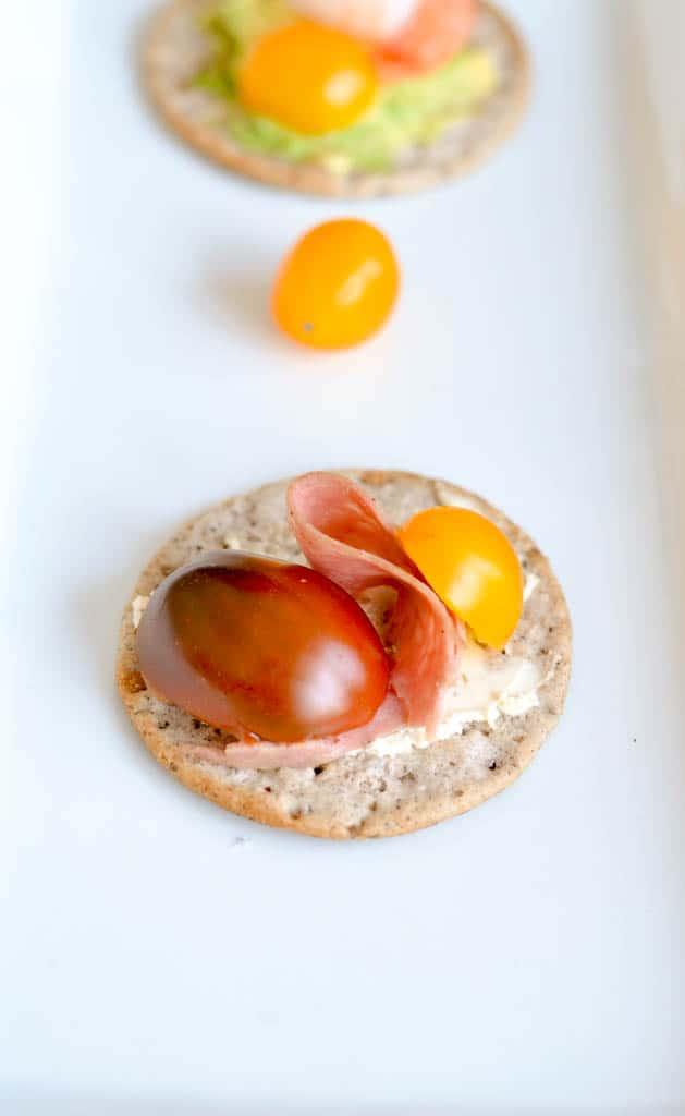 avocado salami cracker
