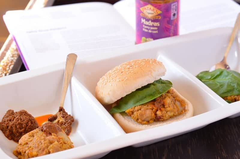This spicy Indian vegetarian burger recipe is so delicious, even your meat-lovers will ask for seconds! The secret is the Pataks Curry paste! Check it out!