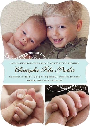 Want to really make your older child feel special? Let her share the spotlight on the baby announcements! Tiny Prints has super stylish sibling birth announcements that show off your newborn's picture, but let the world know that your older child is now a sibling!