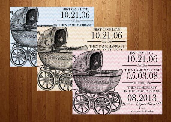 First Came Love, Then Came Marriage, Now A Baby Carriage Pregnancy Announcement Cards on Etsy