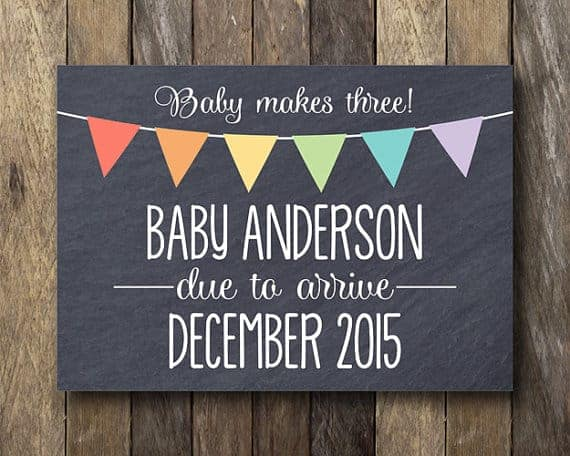 Baby Makes Three:  Pregnancy Announcement Cards on Etsy