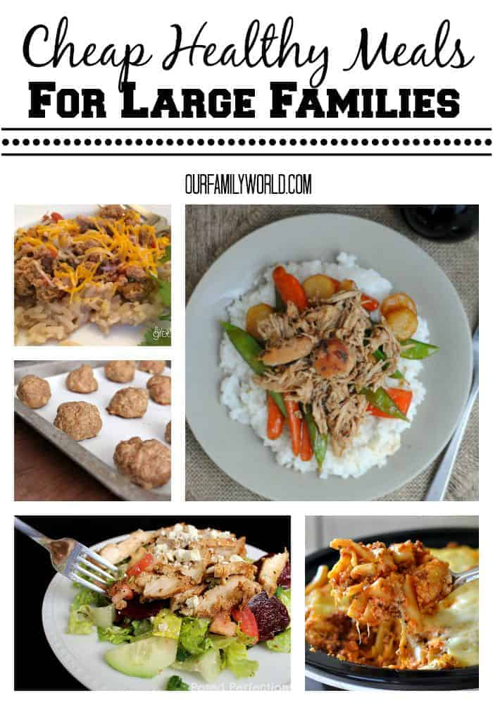 These Cheap Healthy Meals For Large Families are perfect for pushing your grocery budget farther. Not only are these meals all healthy options, they are seriously delicious. Everyone in the family will enjoy them.