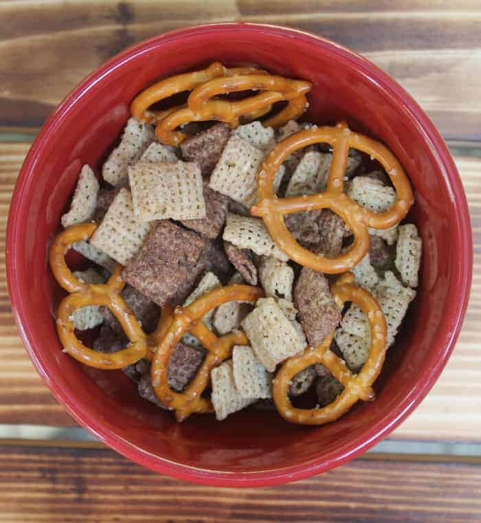 Craving sweet and salty? Don't dump chocolate chips on your extra-butter popcorn! Instead, try Chocolate Chex mixed with pretzels! Soo good!