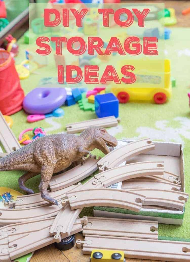 Wrangle all those dinosaurs, blocks and bears with these creative & inexpensive DIY kids toys storage ideas!