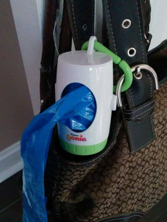 Stop diaper odours from taking over your life with Playtex Diaper Genie Portable Bag Dispenser with fresh Lavender scented bags