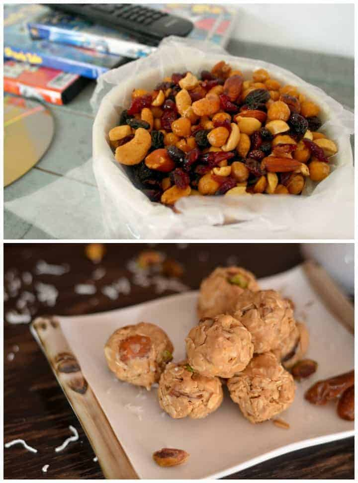 5 Things You Need To Pack In Your Hospital Bags (beyond basics): Snacks like these honey roasted chick peas and peanut butter bites!