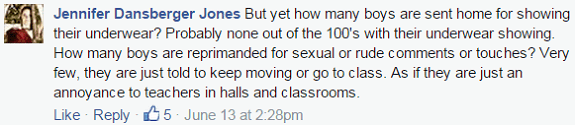 boys not reprimanded for sexual agresstion facebook comment