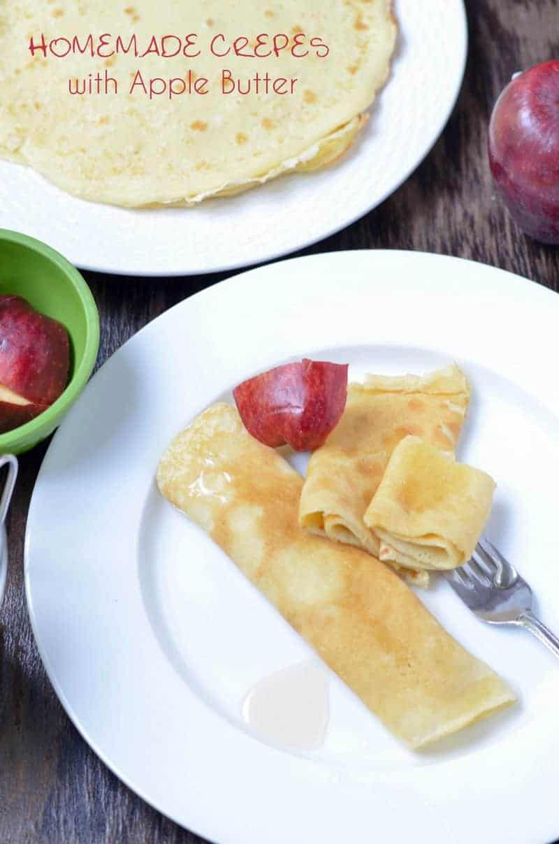 Looking for delicious apple recipes for kids? You absolutely MUST try this amazing (if I do say so myself) homemade crepes with apple butter recipe. My kids devoured it! Plus check out more amazing apple recipes!