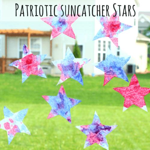 Patriotic-Suncatcher-Stars Labor Day Crafts for Kids