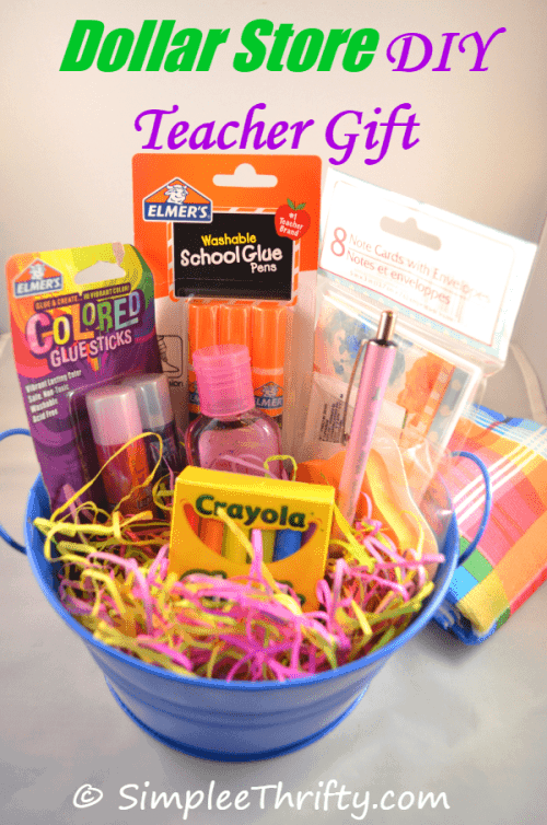 7 great diy teacher gifts ideas our family world this is such a great useful diy teacher gift shared by simple thrifty grab a simple bucket and school supplies at your local dollar store and create a fun negle Image collections