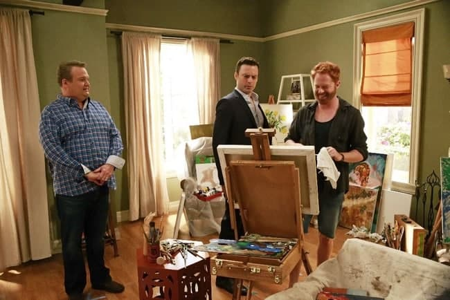 "MODERN FAMILY - ""Summer Lovin'"" - Emmy award winning and critically acclaimed series ""Modern Family"" returns for its seventh season with the premiere episode, ""Summer Lovin,"" on WEDNESDAY, SEPTEMBER 23 (9:00-9:31 p.m., ET) on the ABC Television Network. Haley's attempt to stop Andy from proposing to Beth will end up with both Haley and Andy needing to cope with their emotions and both will have their own special ways of doing so, and Phil and Claire seem to only make matters worse. Jay and Gloria look at pre-schools for Joe and get a rude awakening after they realize the competitive wait list to get in. Meanwhile, Cam tries to remain supportive of Mitch's midlife career crisis, but money is getting a little tight, so Cam comes up with a scheme to get Mitch's old job back. (ABC/Mitchell Haaseth) ERIC STONESTREET, JUSTIN KIRK, JESSE TYLER FERGUSON"