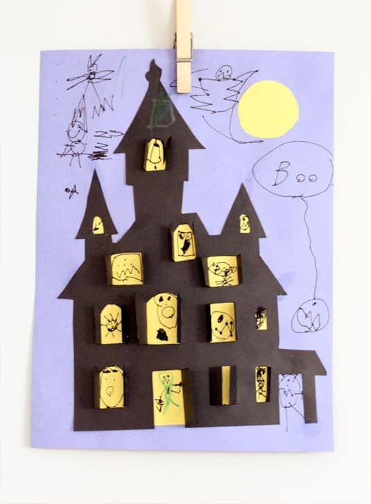 haunter house paper Halloween Crafts For Kids