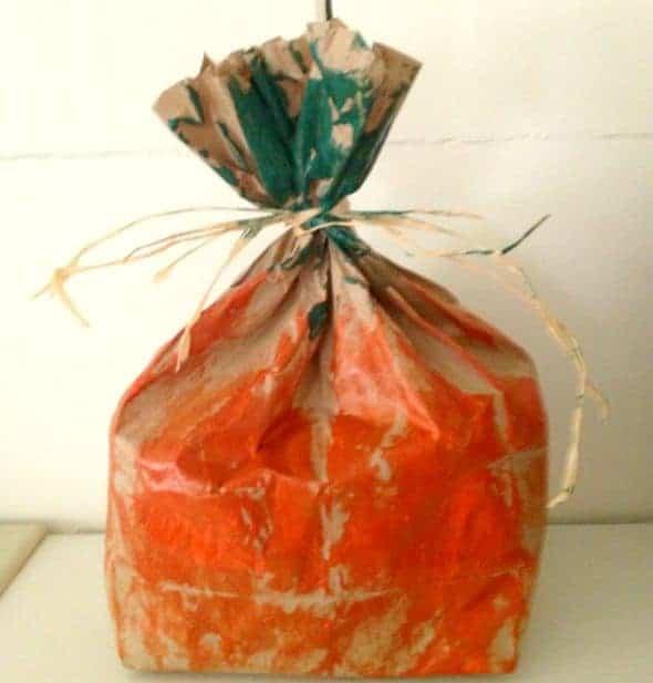 paper bag pumpkin Halloween Crafts For Kids