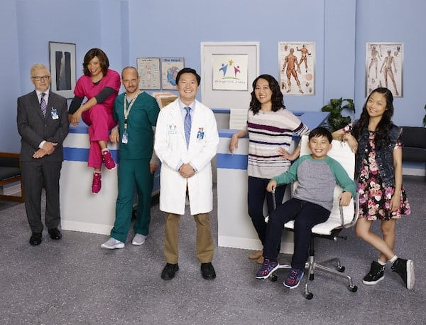 "DR. KEN - ABC's ""Dr. Ken"" stars Dave Foley as Pat, Tisha Campbell Martin as Damona, Jonathan Slavin as Clark, Ken Jeong as Dr. Ken, Suzy Nakamura as Allison, Albert Tsai as Dave and Krista Marie Yu as Molly. (ABC/Craig Sjodin)"
