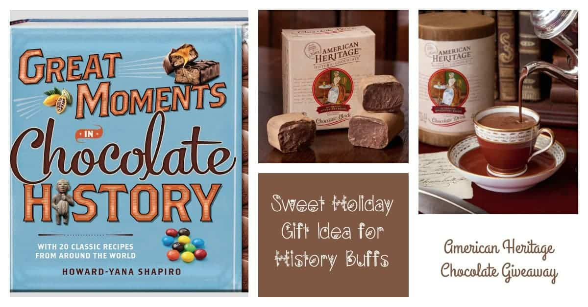 Looking for a sweet holiday gift idea for your favorite history buff? How about American Heritage Chocolate's Great Moments in Chocolate History book? Enter for a chance to win your own copy, plus tasty treats from American Heritage Chocolate!