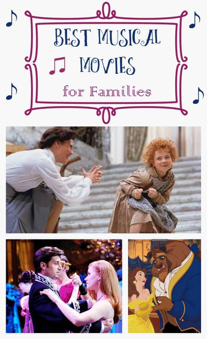 If your family loves singing together in the car, you'll love these good family musical movies! Pick out a few for your next movie night! We share our top three favorites, plus 14 more good family movies for musical families!