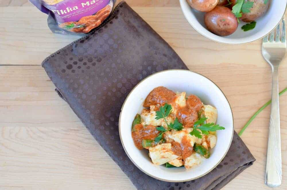 Mix in a little India to your weekly dinner with this delicious and easy Grilled Tofu Tikka Masala with oven roasted parsley potatoes!