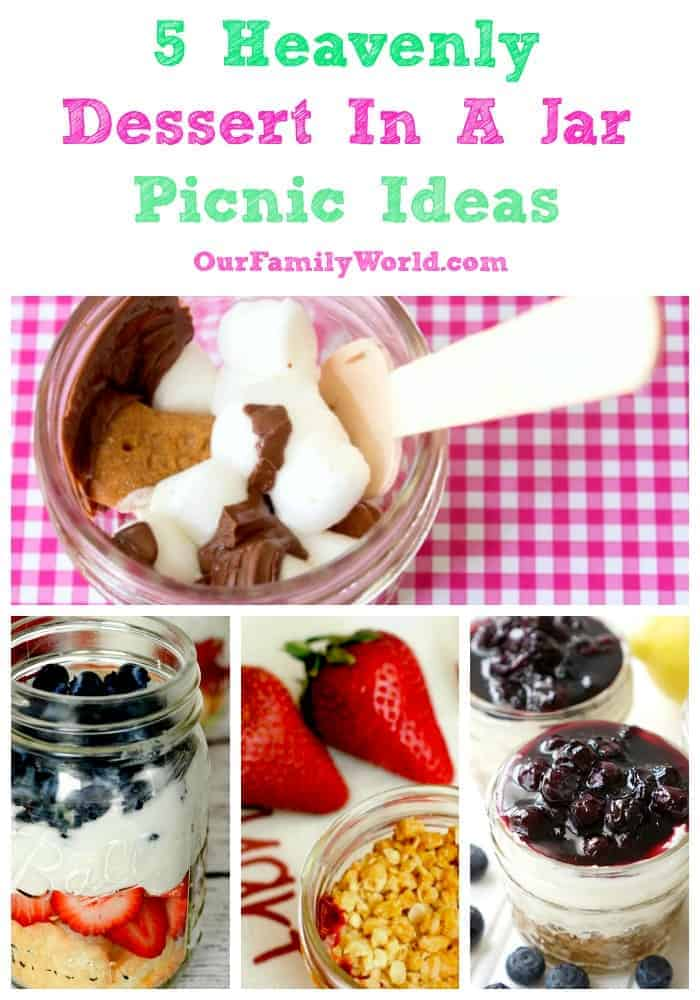 These dessert in a jar picnic ideas are full of yummy flavors you'll love. S'mores? Blueberry Cheesecake? Click to see all the ideas!