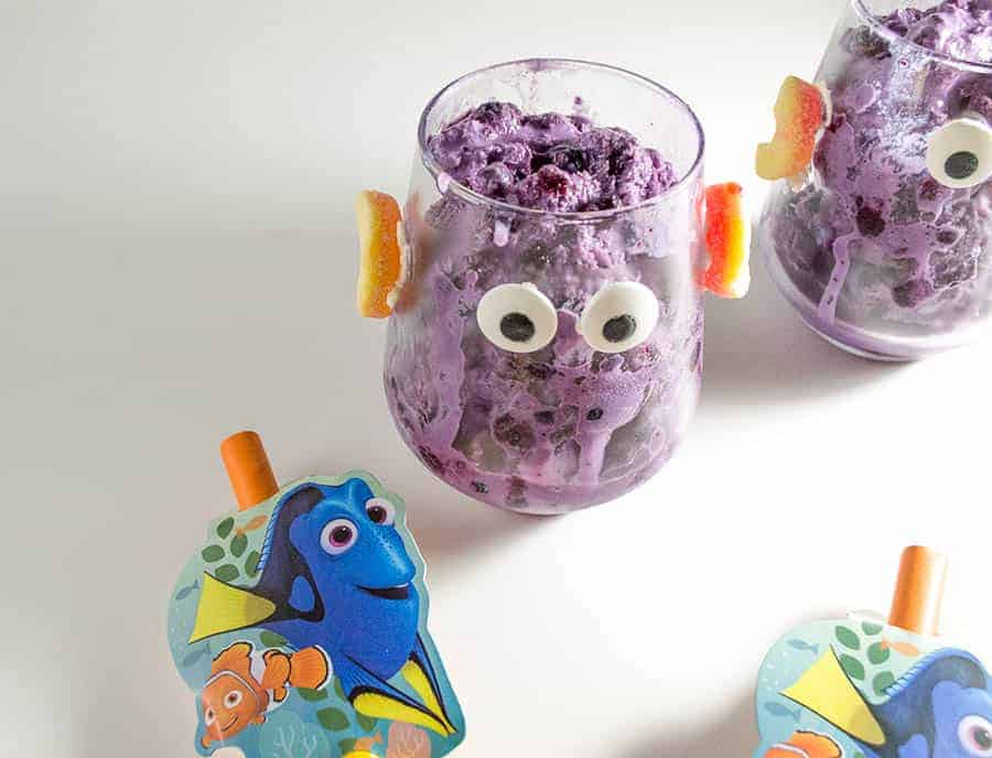 Looking for a fun way to celebrate the release of Finding Dory? Whip up this movie-inspired blueberry ice cream recipe with your kids! It also makes a fun Finding Dory party treat! If you need a cute activity during the party, let the kids decorate their own ice cream cups.