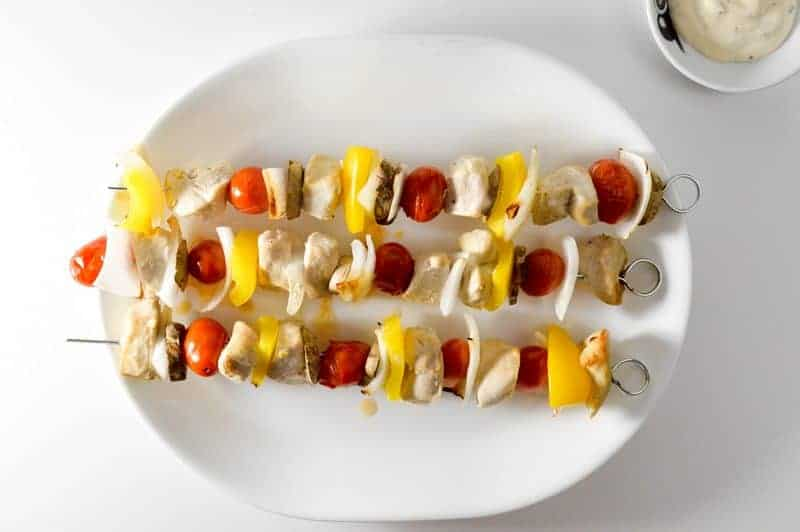 Looking for an easy recipe for dinner that you can make either on the grill or the stove? I'm loving these chicken skewers right now!