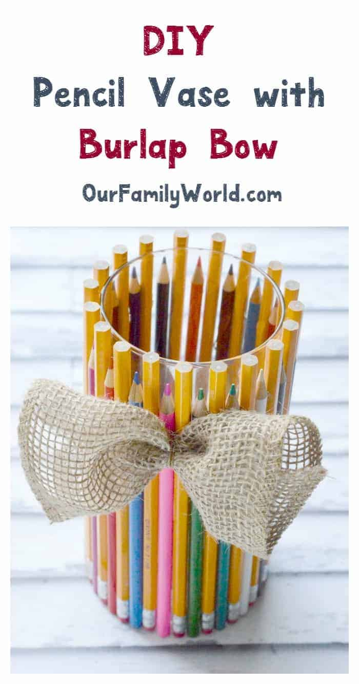 This cute DIY pencil holder is the perfect back to school decor craft to get kids excited about a new year! It makes a fun teacher gift idea too!