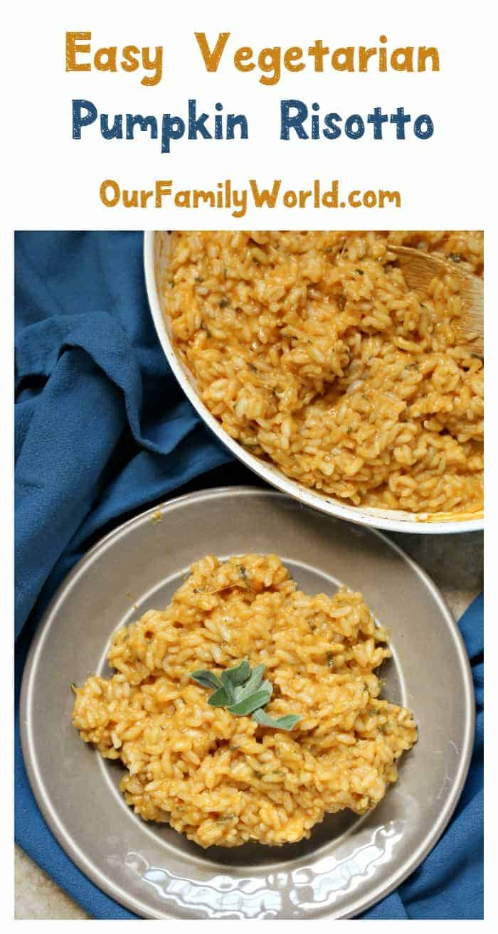Looking for easy vegetarian dinner recipes made with your favorite fall veggies? Check out this delicious one-skillet pumpkin risotto recipe!