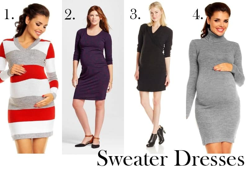 With all the parties coming up, you'll need at least a few cute winter maternity dresses! Check out our favorites plus accessories to keep you toasty!