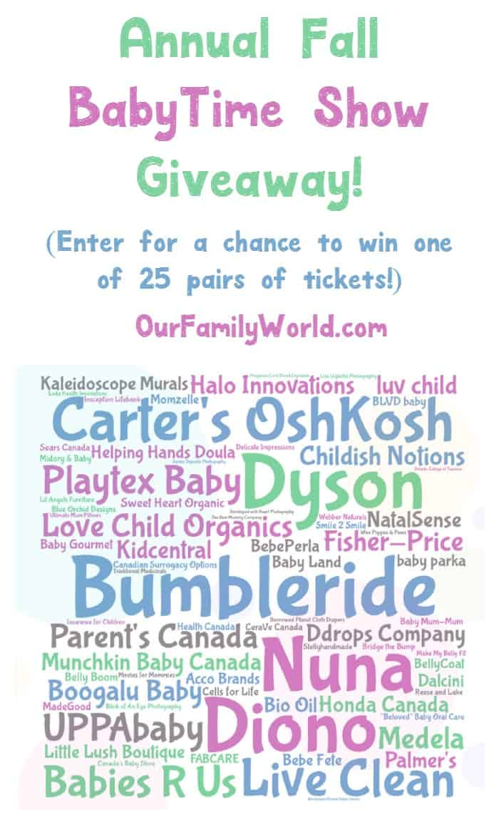Enter for a chance to win one of 25 pairs of tickets to the BabyTime Show, Toronto's hottest baby & parenting show! Check it out!