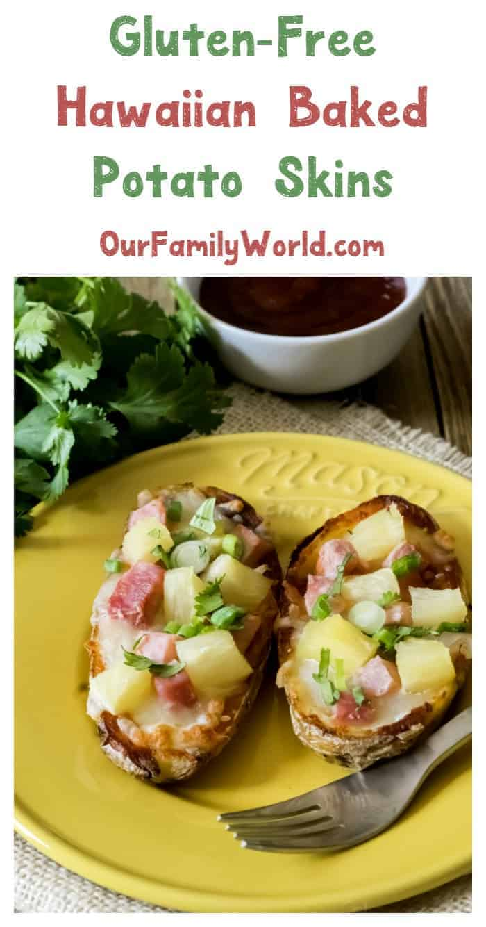 This Hawaiian potato skins recipe is a tasty gluten-free twist on Hawaiian pizza! Makes a unique Thanksgiving side dish or appetizer for your Christmas party!