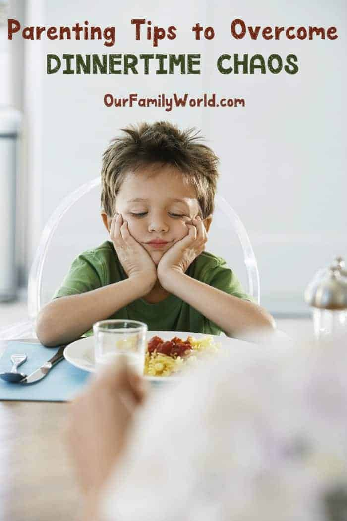 Looking for tips for how to overcome dinnertime chaos? Check out our parenting tips to help you tame the madness & actually get your kids to sit to eat!