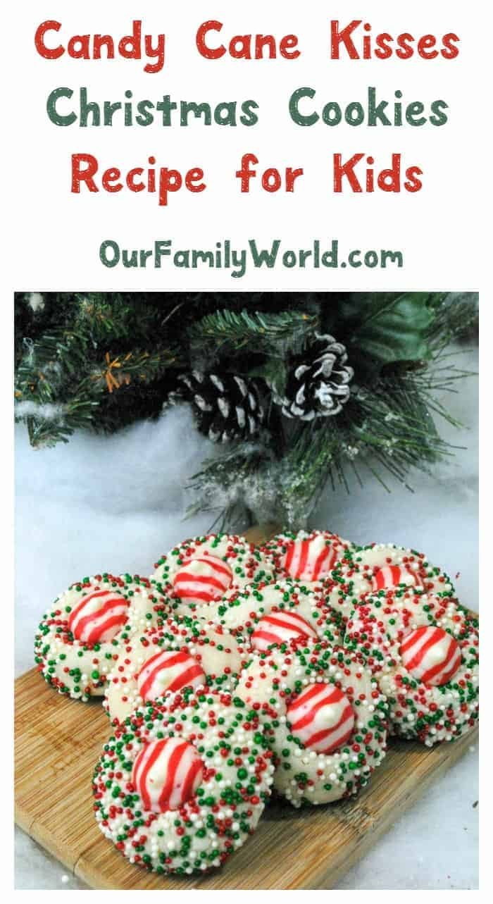 Ready for a really fun and tasty Christmas recipe for kids? These Candy Cane Peppermint Kisses cookies are so much fun to make together!