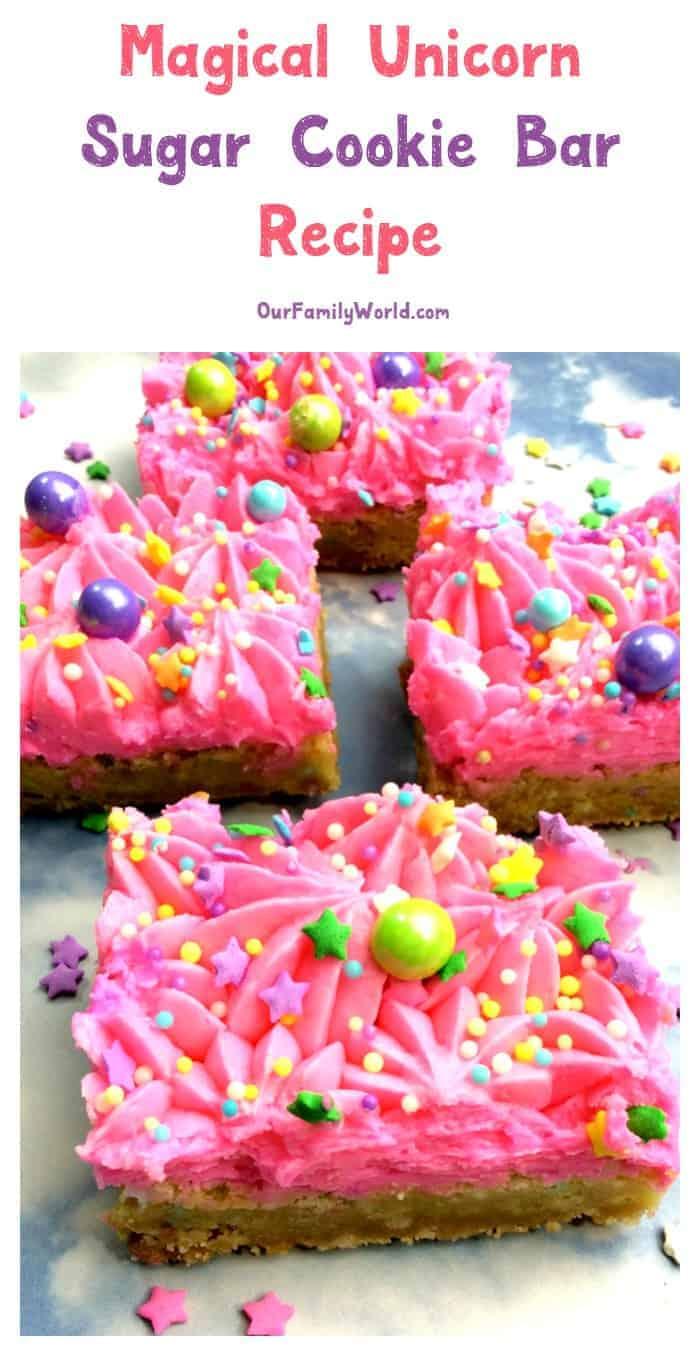 We told this cookie it could be anything, so it became a unicorn! Grab our unicorn sugar cookie bar recipe and let the magic begin! Perfect for parties!