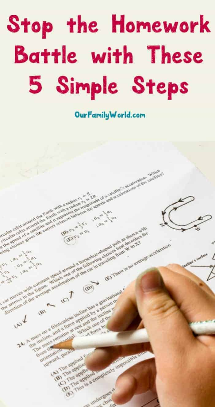 If getting your kids to sit down to do their homework without complaining is like pulling teeth from a rabid crocodile, you need these five simple steps to stop the homework battle once and for all! Check them out!