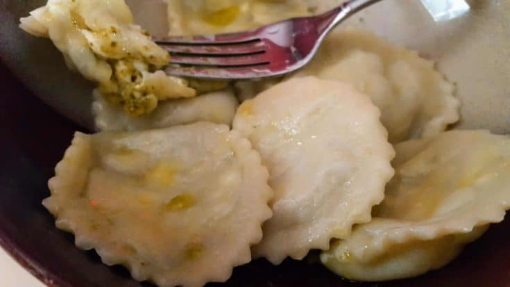 Homemade Cheese and Pesto Ravioli