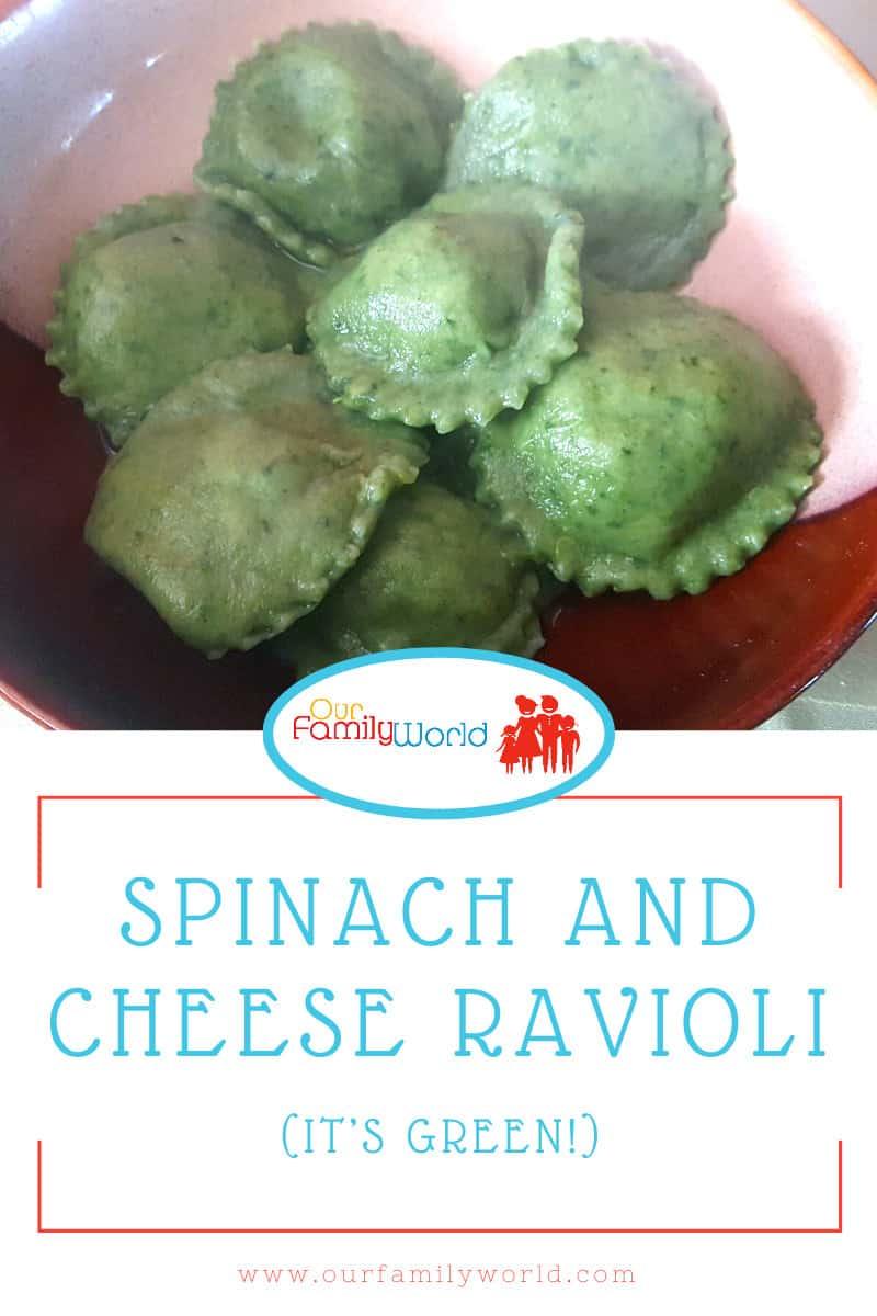 Handmade green pasta stuffed with mozzarella cheese, spinach, and pesto.